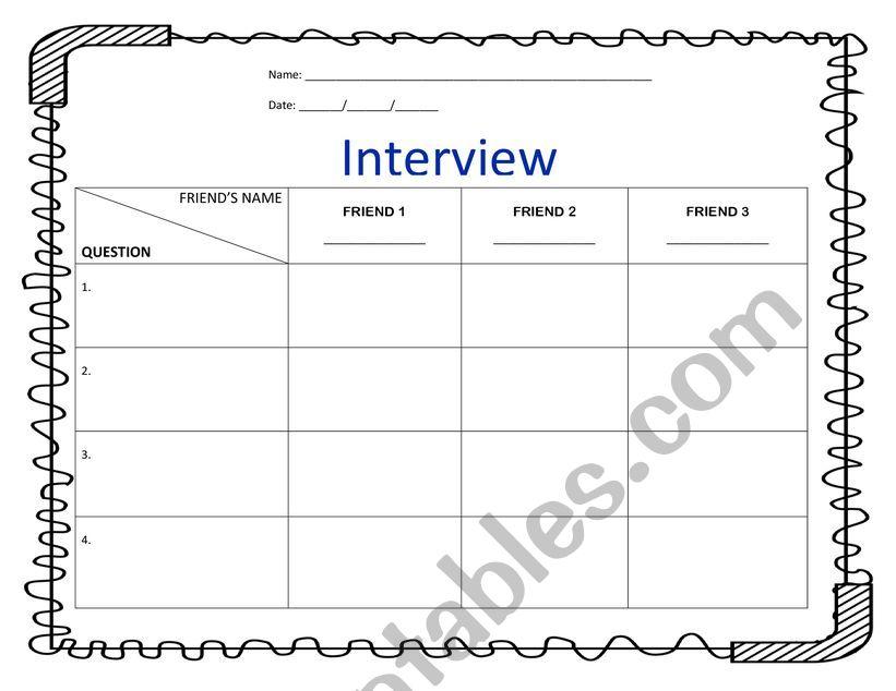 INTERVIEW A FRIEND worksheet
