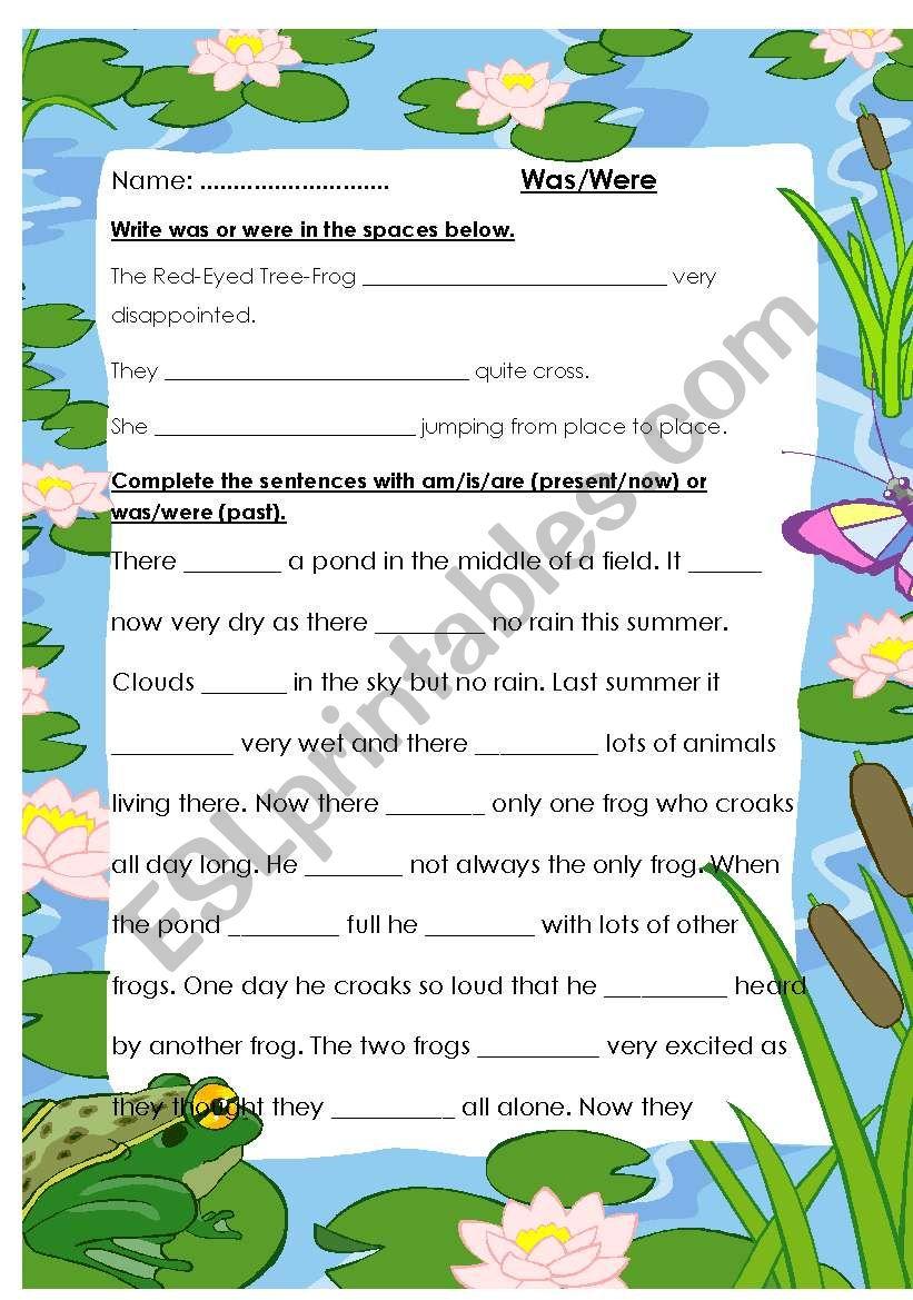 Was/Were verb form worksheet