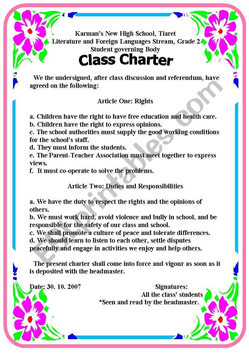 class charter worksheet