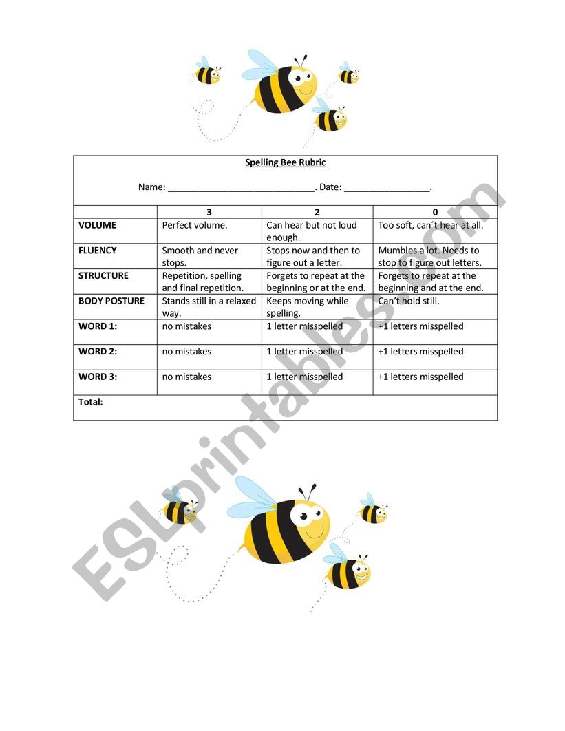Spelling Bee Rubric worksheet