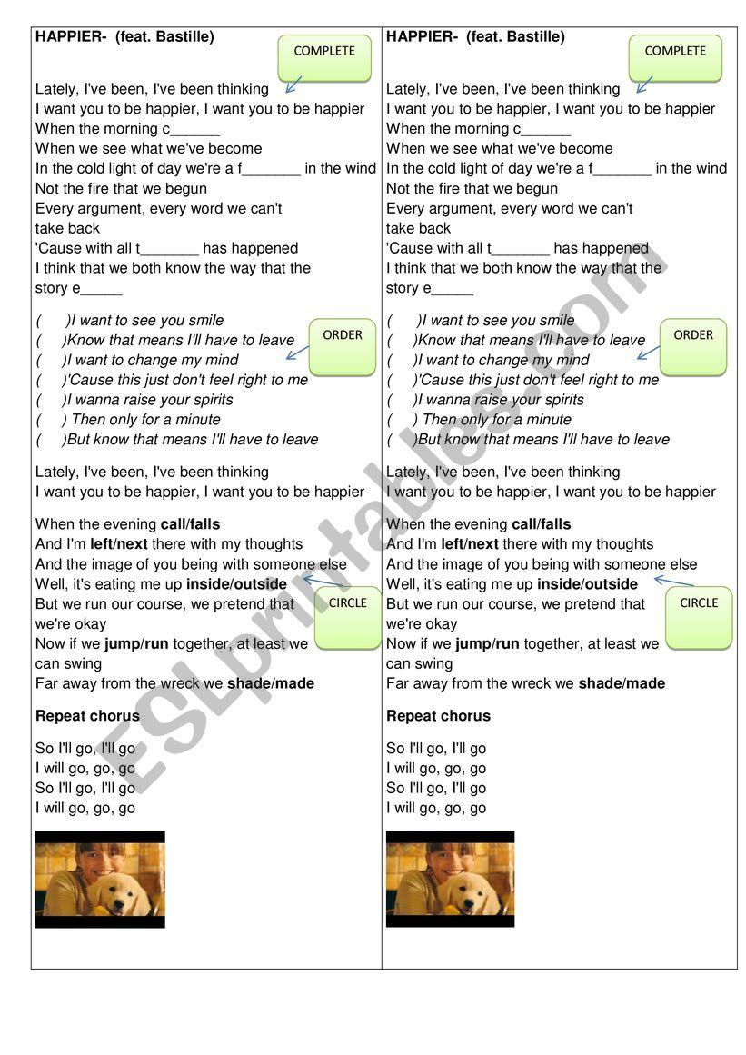 Song Happier worksheet