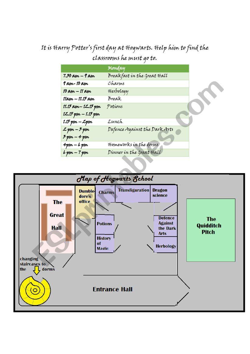 Harry Potter´s timetable worksheet