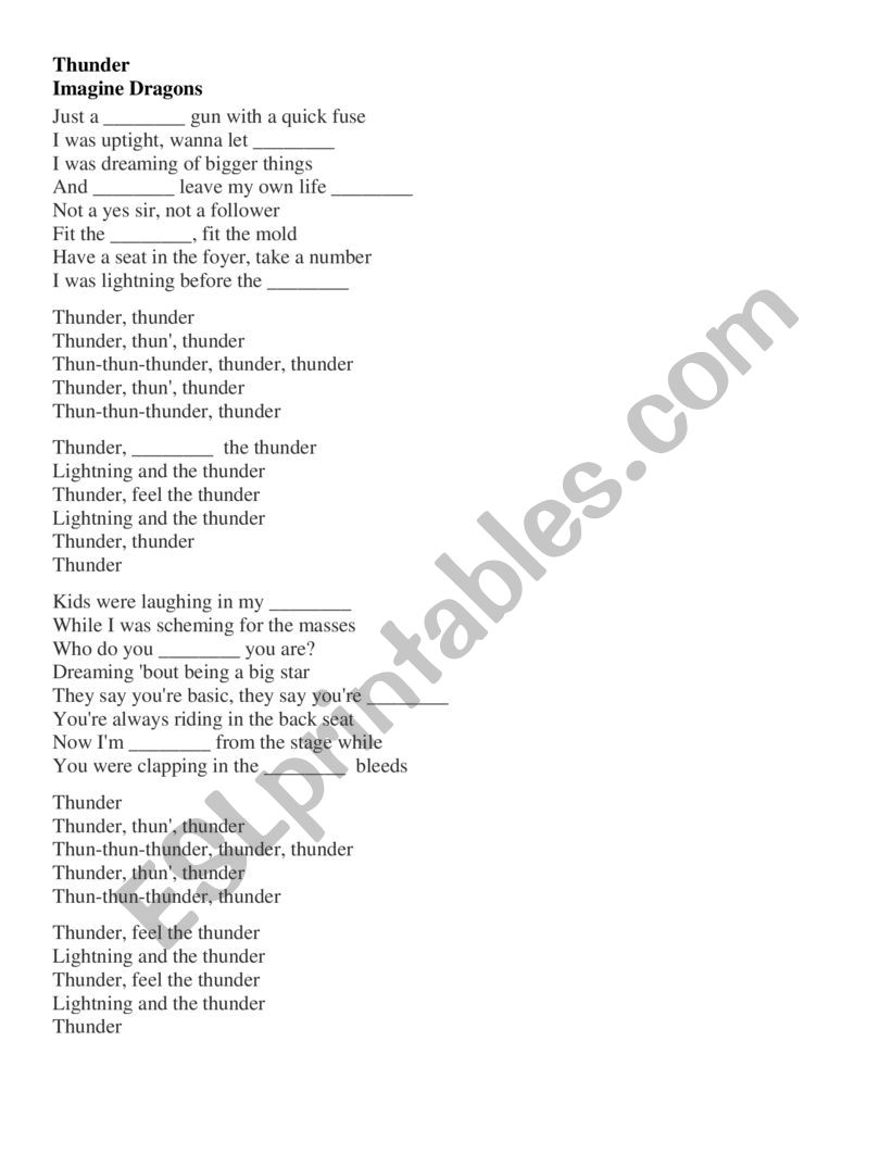 photograph relating to Thunder Schedule Printable referred to as Consider Dragons - Thunder Lyrics with Gaps - ESL worksheet