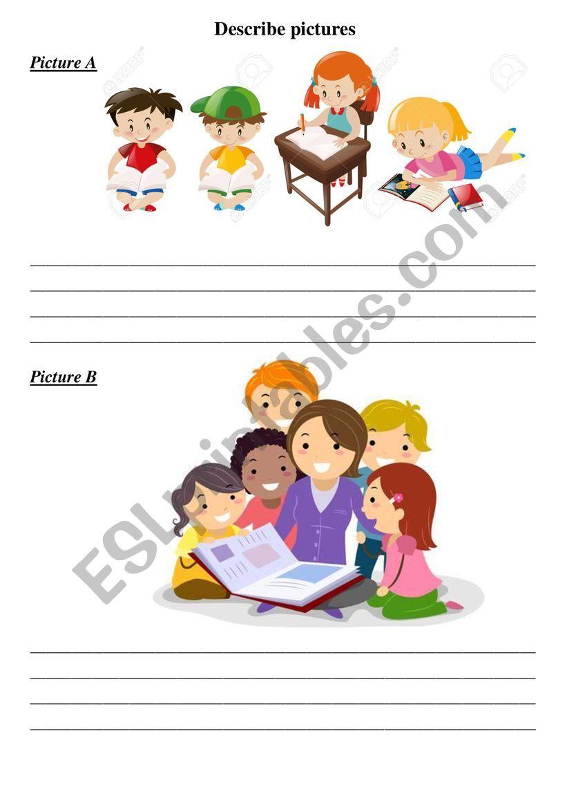 Decribe pictures worksheet