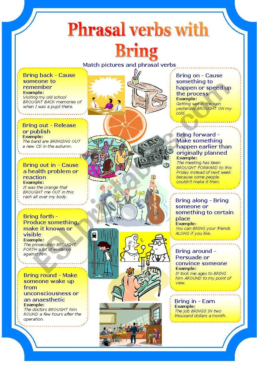 Phrasal verbs with bring (2 pages)