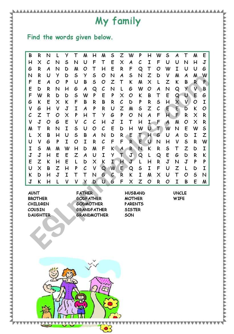 My family-wordsearch worksheet