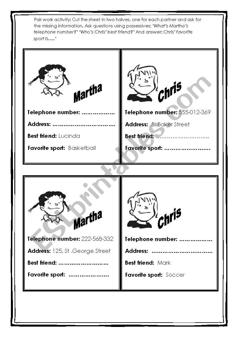 Whats Martha Phone Number Speaking Activity Esl Worksheet By
