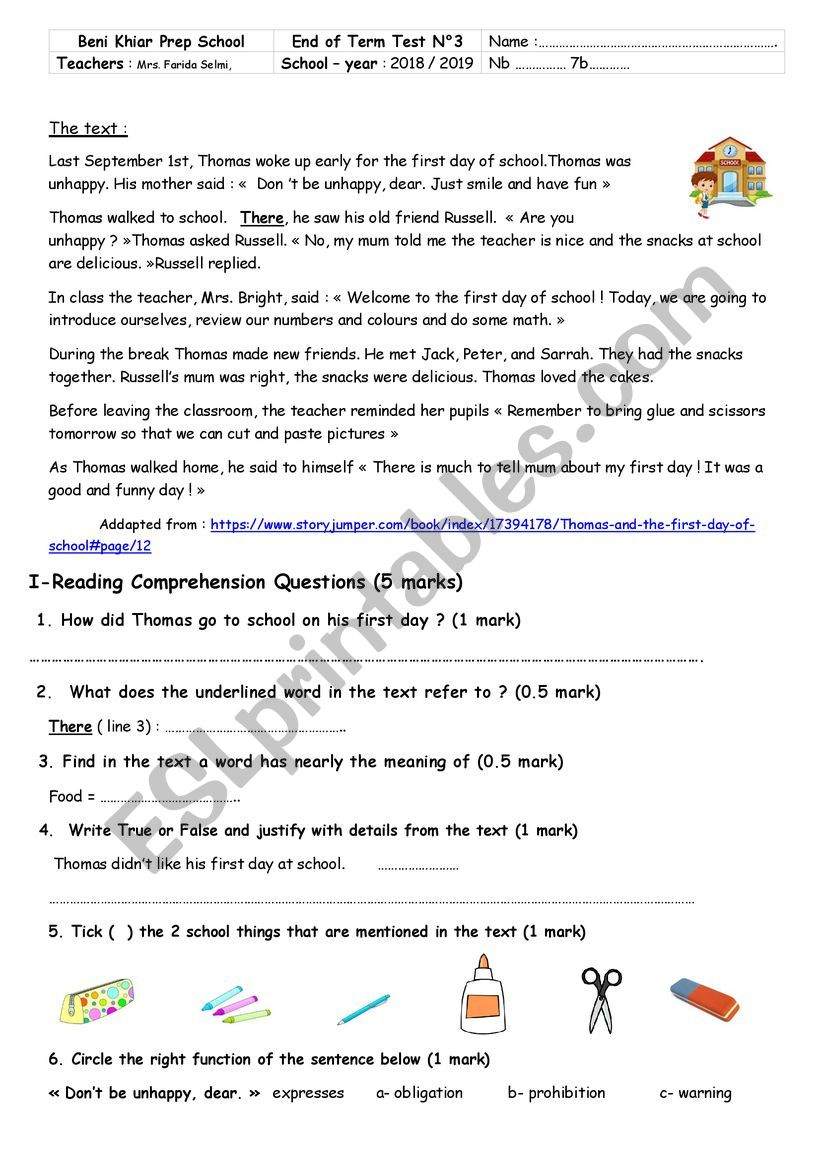 7th form end of term test  worksheet