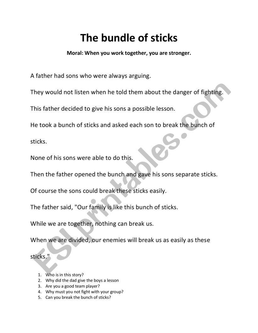 The Bundle Of Sticks Fable Esl Worksheet By Itsdori101
