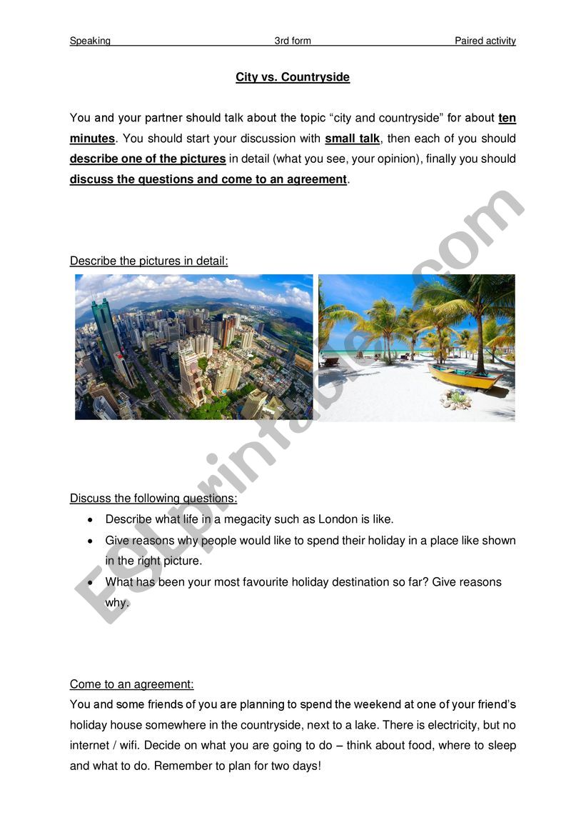 Speaking Exam - Paired Activity 3 (City & Countryside)