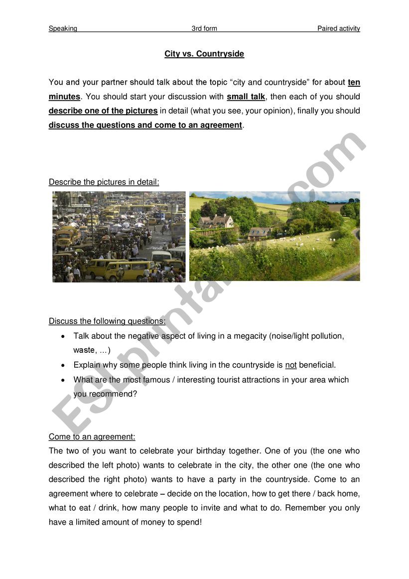 Speaking Exam - Paired Activity 4 (City & Countryside)