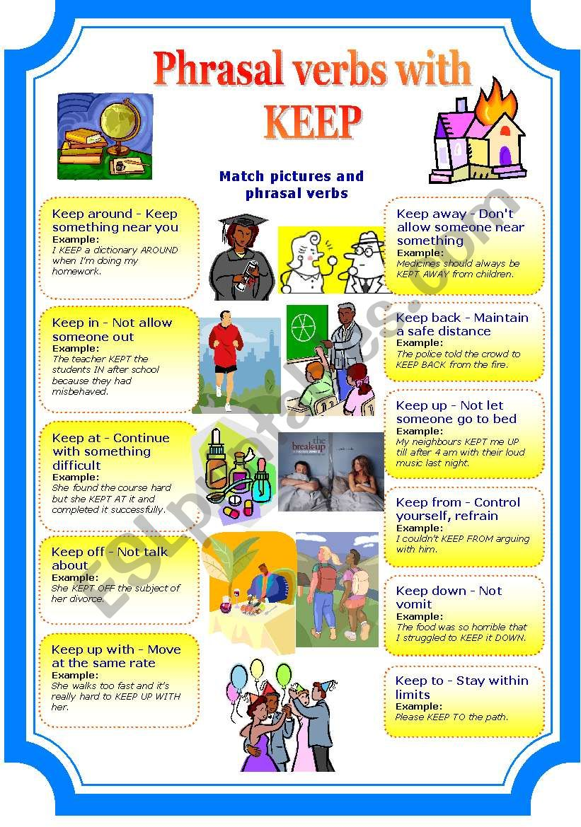 Phrasal verbs with keep (2 pages)