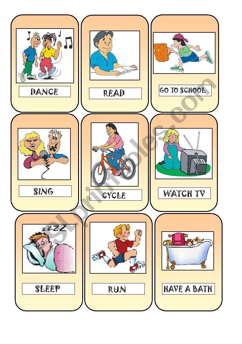 Action cards worksheet