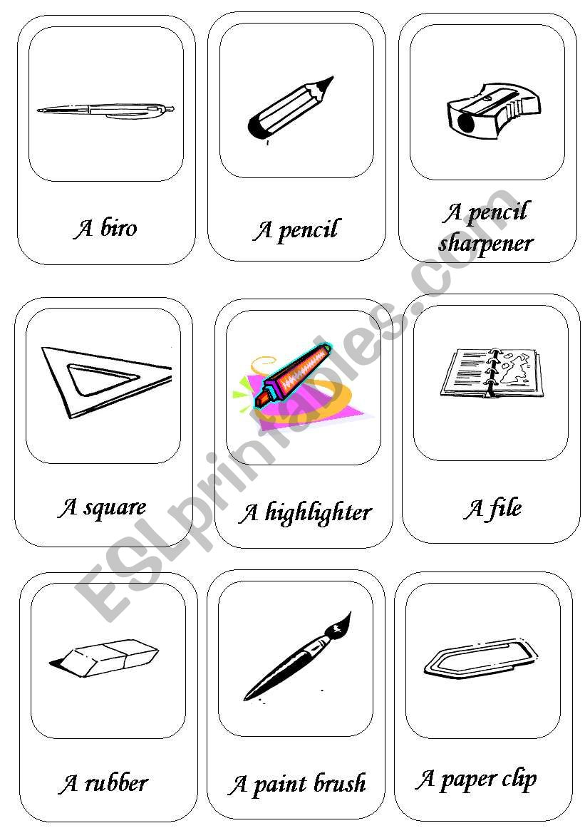 activity cards about school things