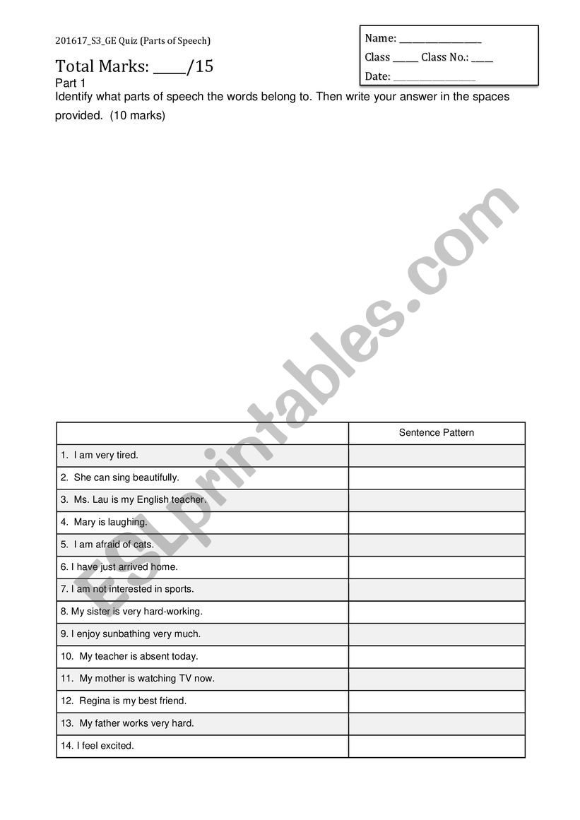 picture relating to Part of Speech Quiz Printable called Element of Speech Quiz - ESL worksheet through ndclauwy