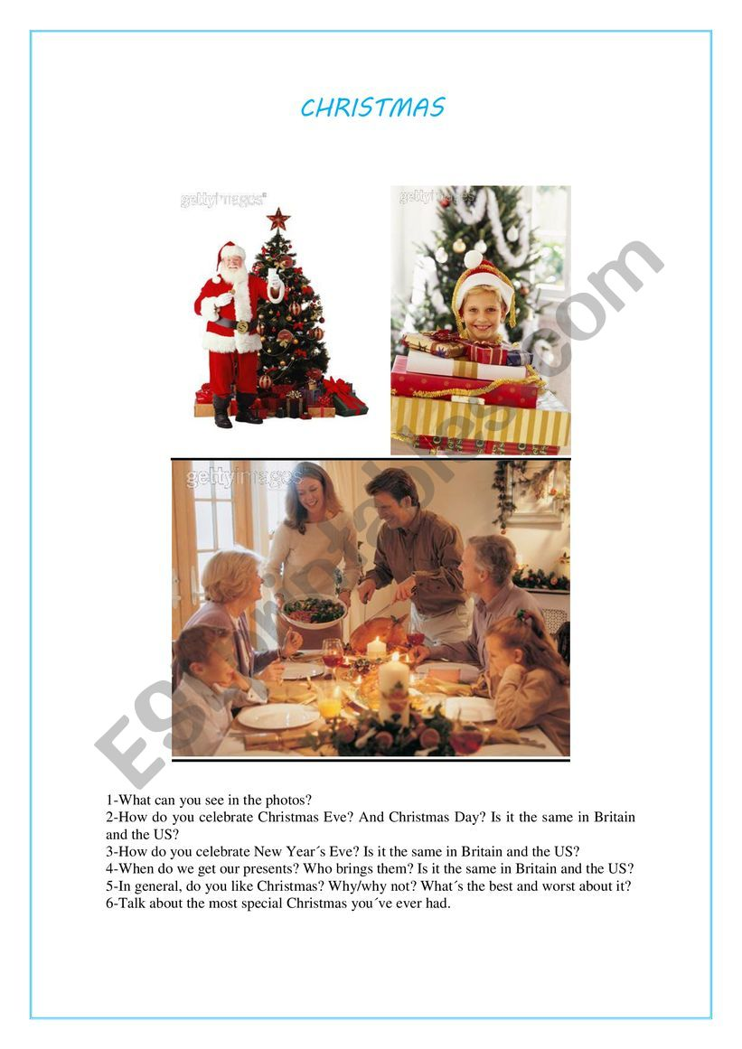 SPEAKING CARD CHRISTMAS worksheet