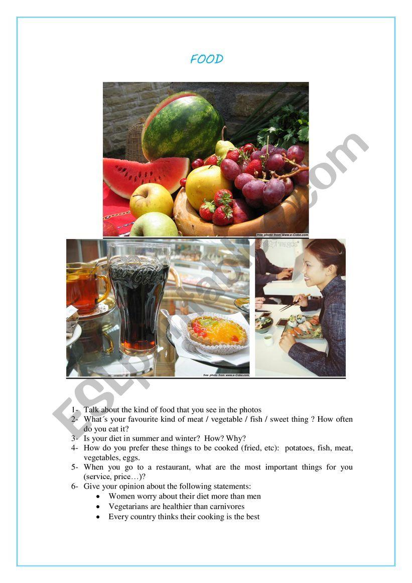 SPEAKING CARD FOOD worksheet