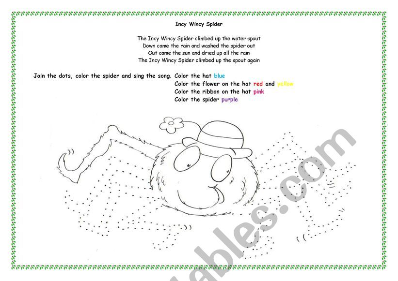 Coloring Activity - Incy Wincy Spider