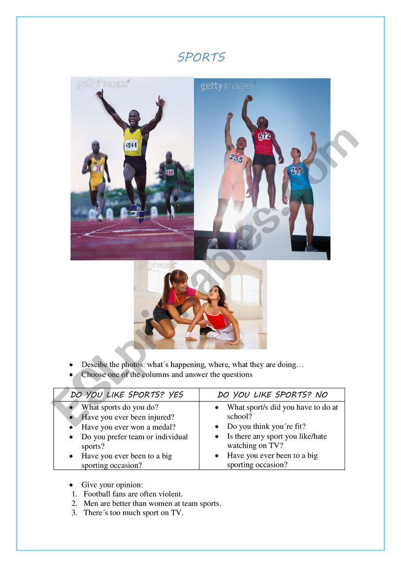 SPEAKING CARD SPORTS worksheet
