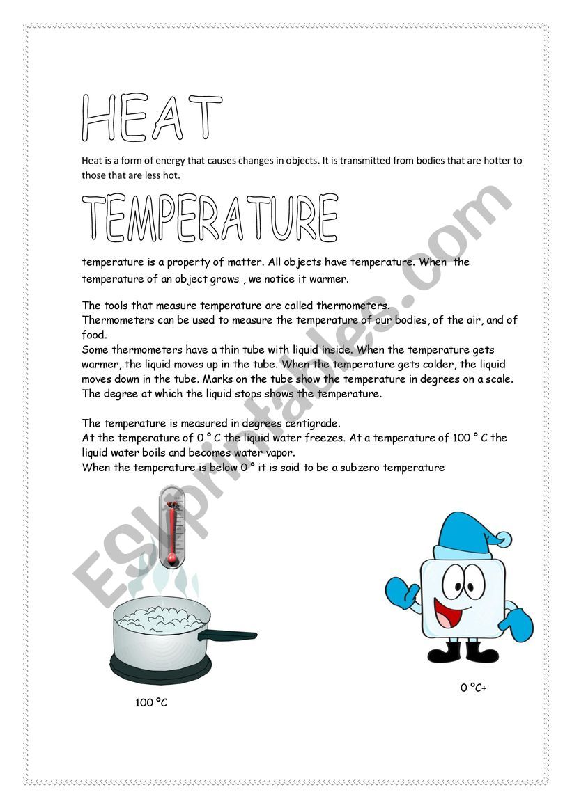 Heat and Temperature worksheet