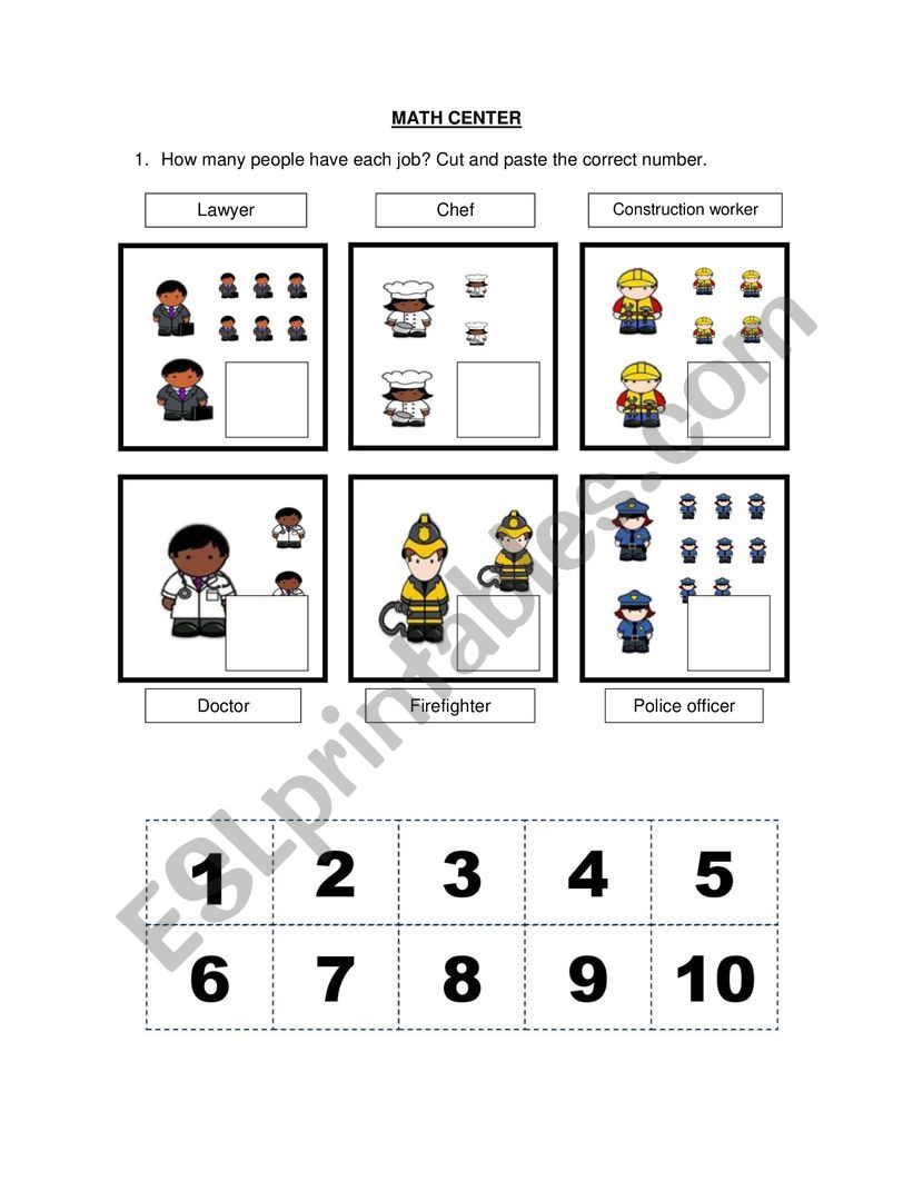 Math Exercise - professions worksheet