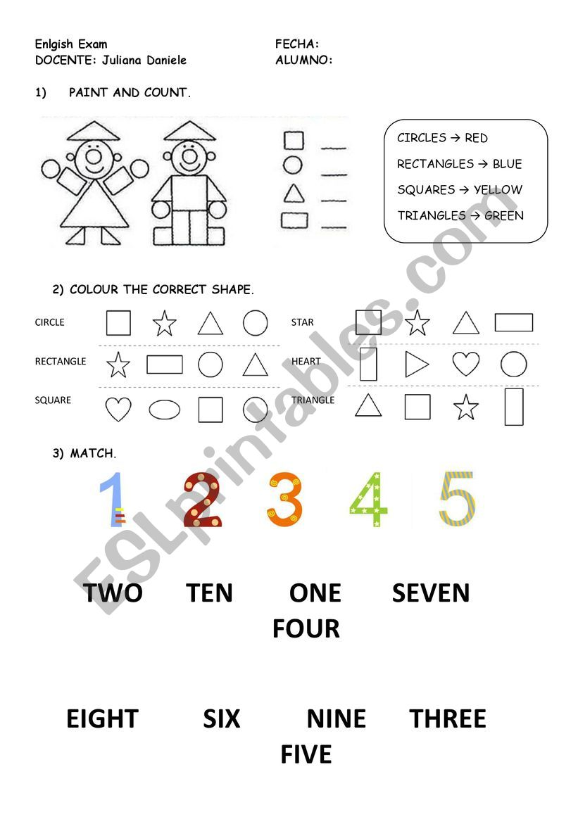 shapes, numbers and colours worksheet