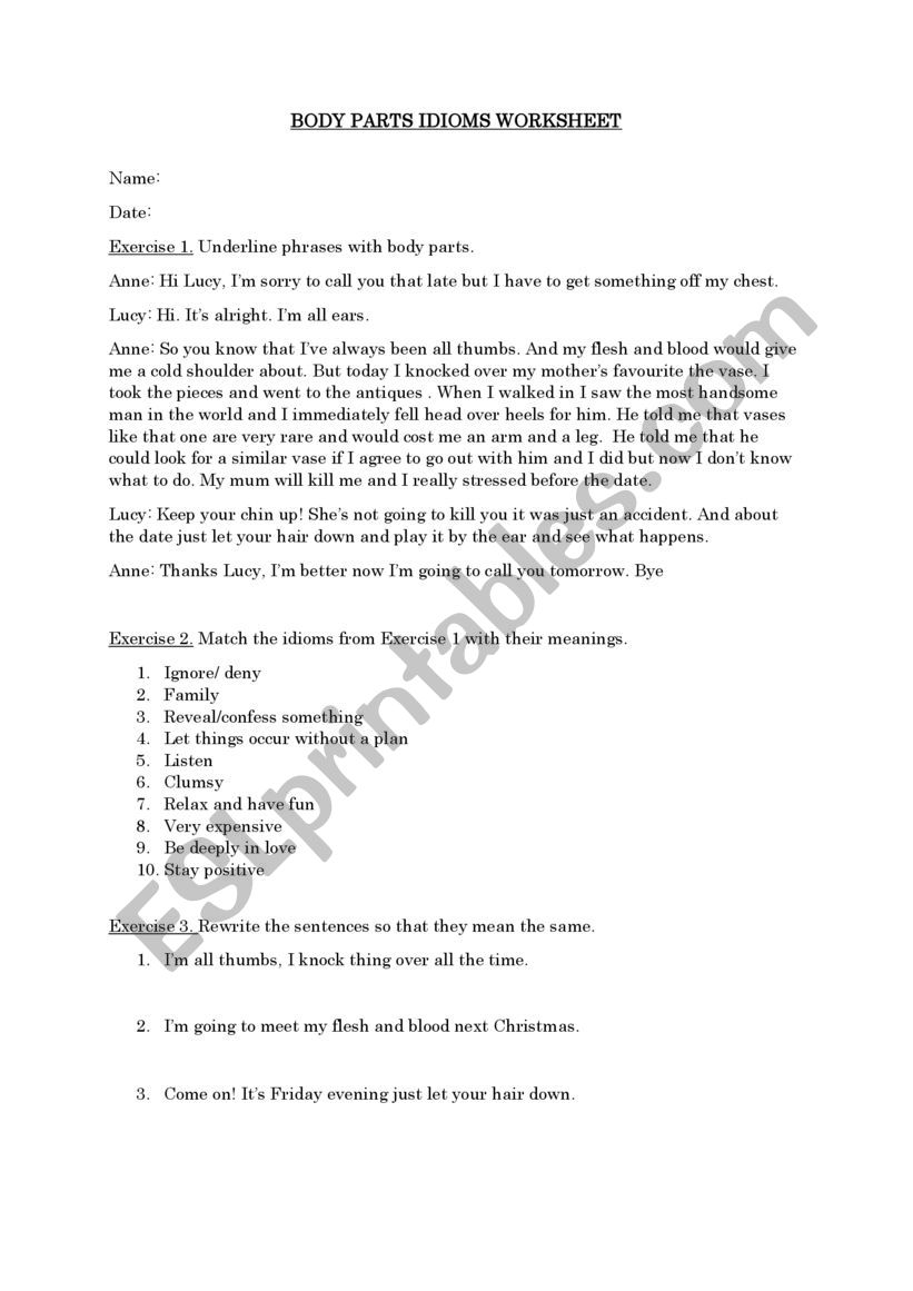 body parts idioms- context worksheet