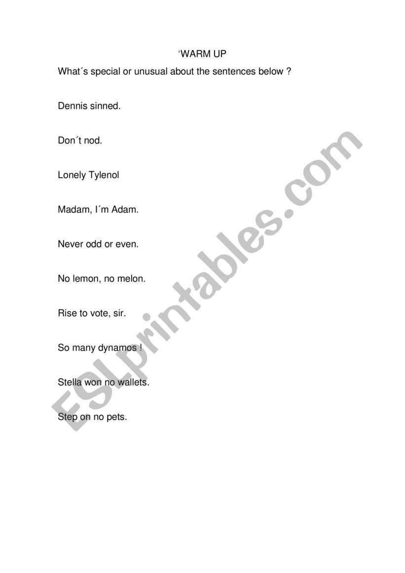 palindromes in English worksheet