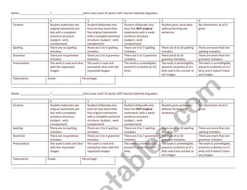 work rubric worksheet