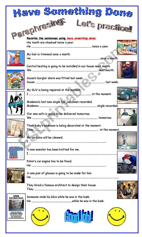 Passive Voice: Causative Have worksheet