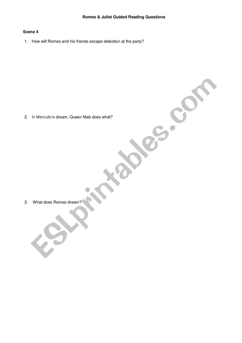 ROMEO AND JULIET STUDY GUIDE QUESTIONS - Romeo and Juliet