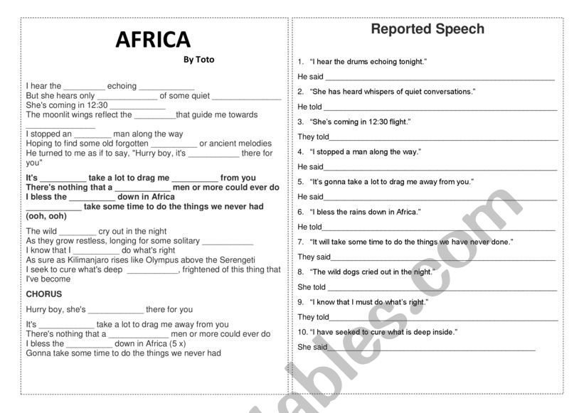AFRICA BY TOTO worksheet