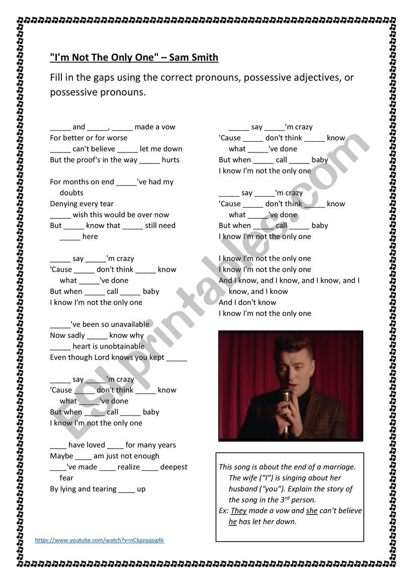 Pronouns and possessive adjectives in the song