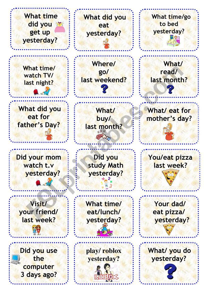 simple past speaking cards worksheet