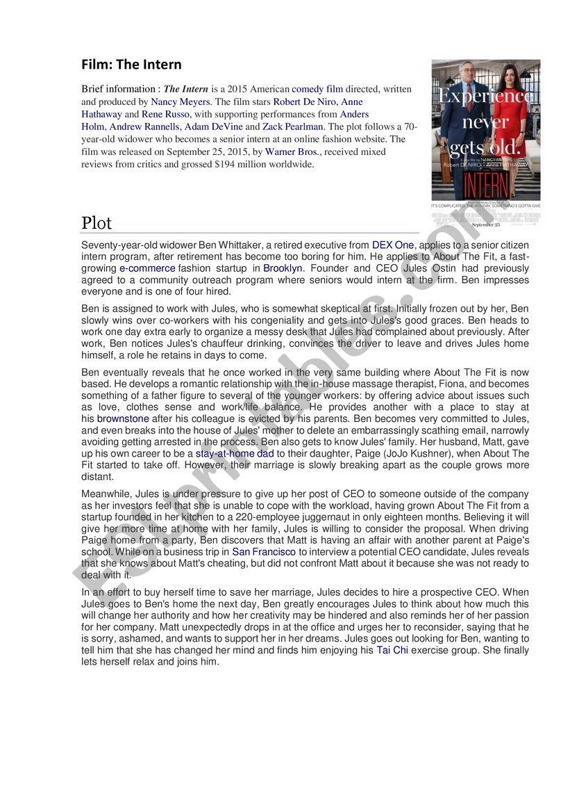 The Intern Film  worksheet