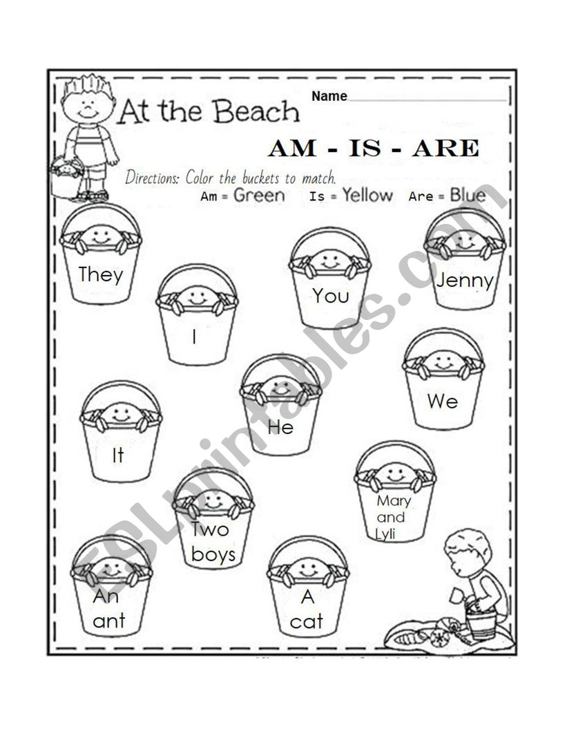 Am - Is - Are colour worksheet