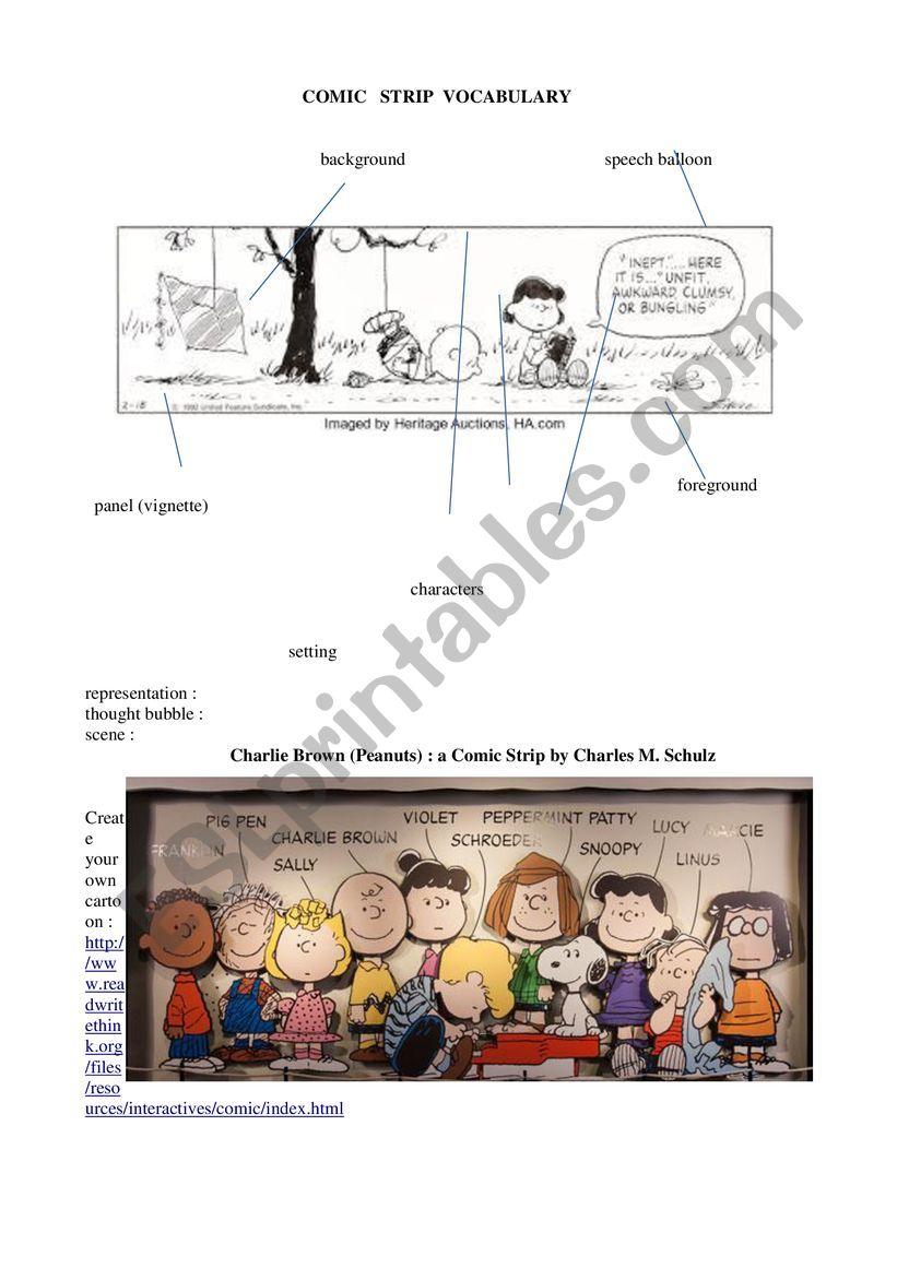 cartoon vocab worksheet