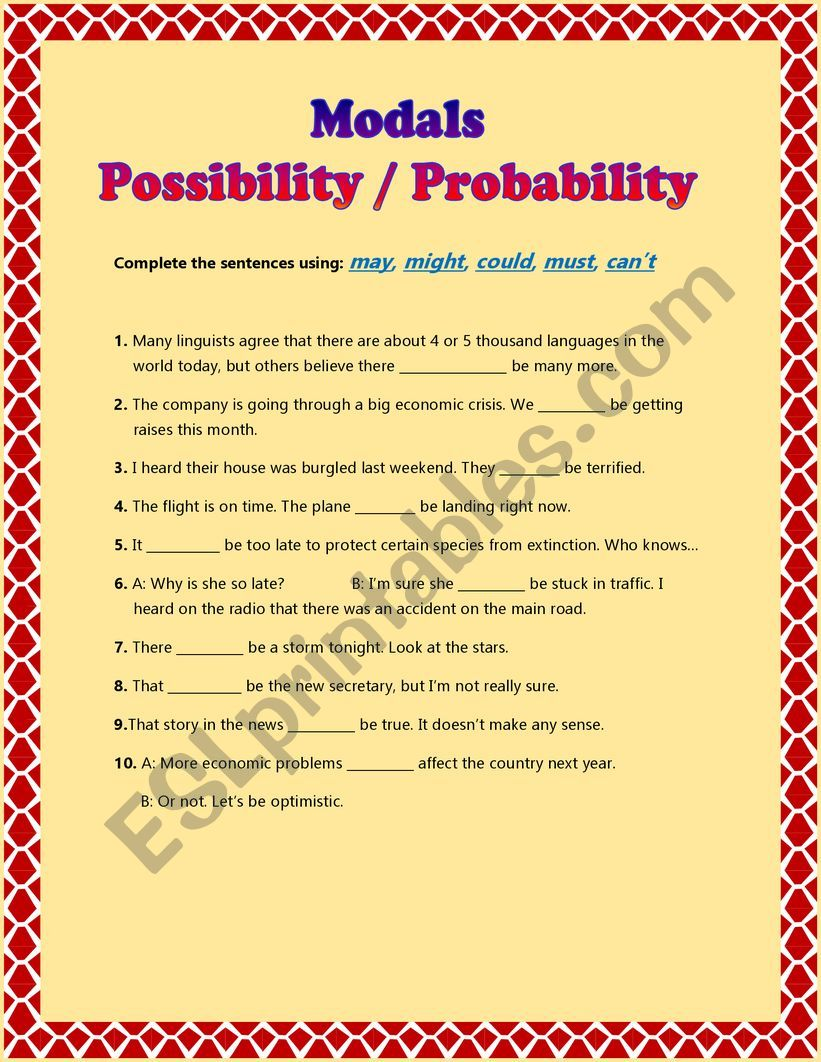 Modals - Possibility or Probability