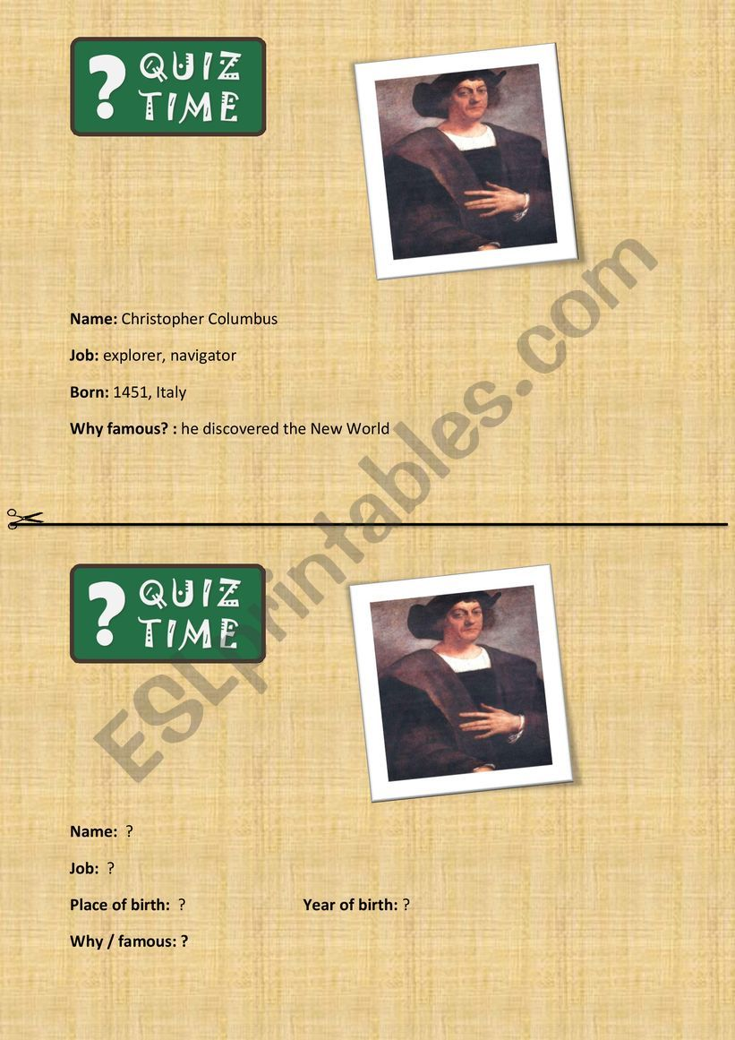 Famous people quiz time! worksheet