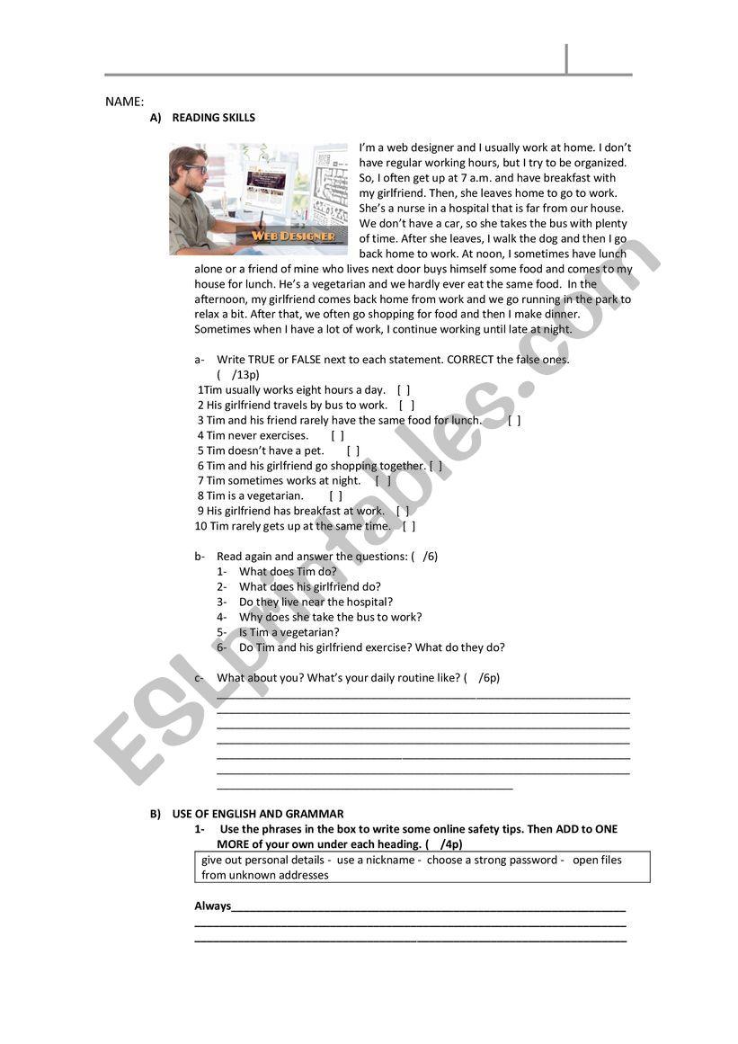 ELEMENTARY WRITTEN ASSESSMENT worksheet