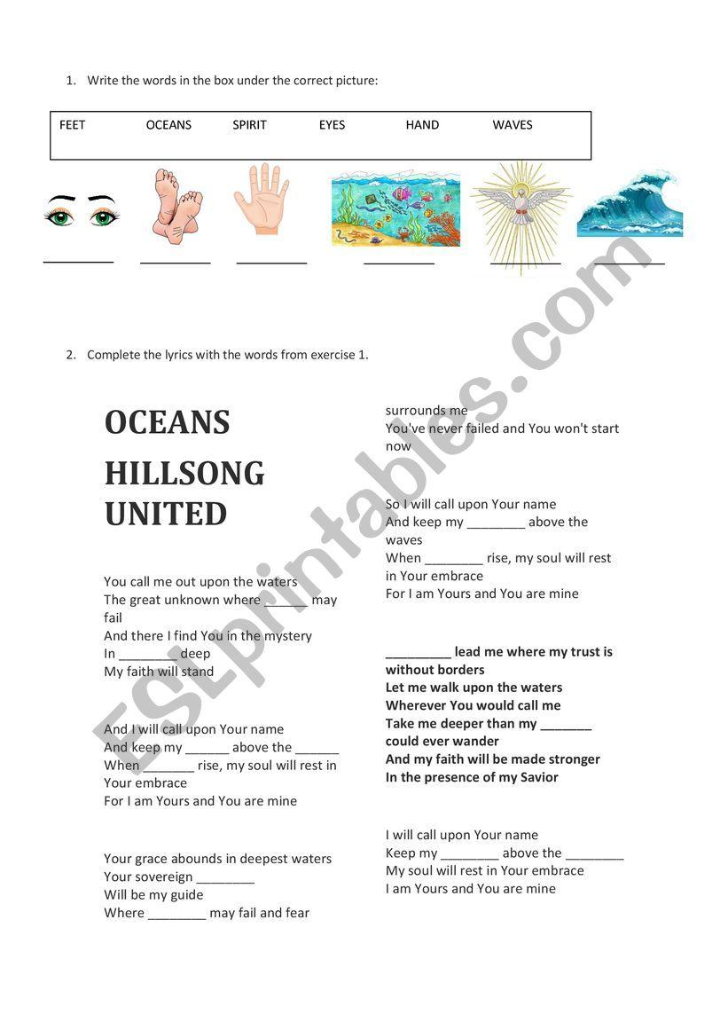 Oceans - Hillsong worksheet