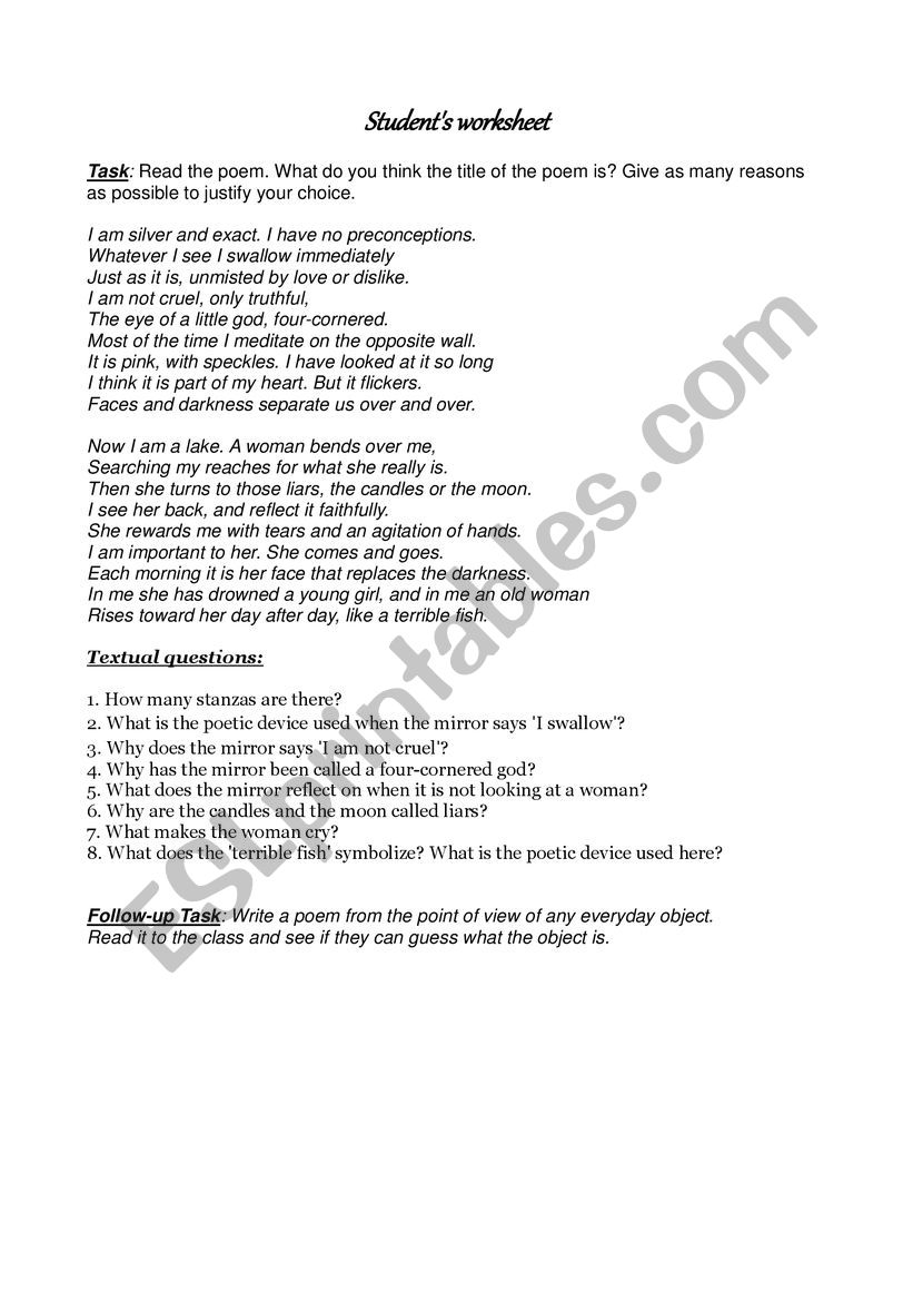 Mirror by Sylvia Plath - ESL worksheet by adkal