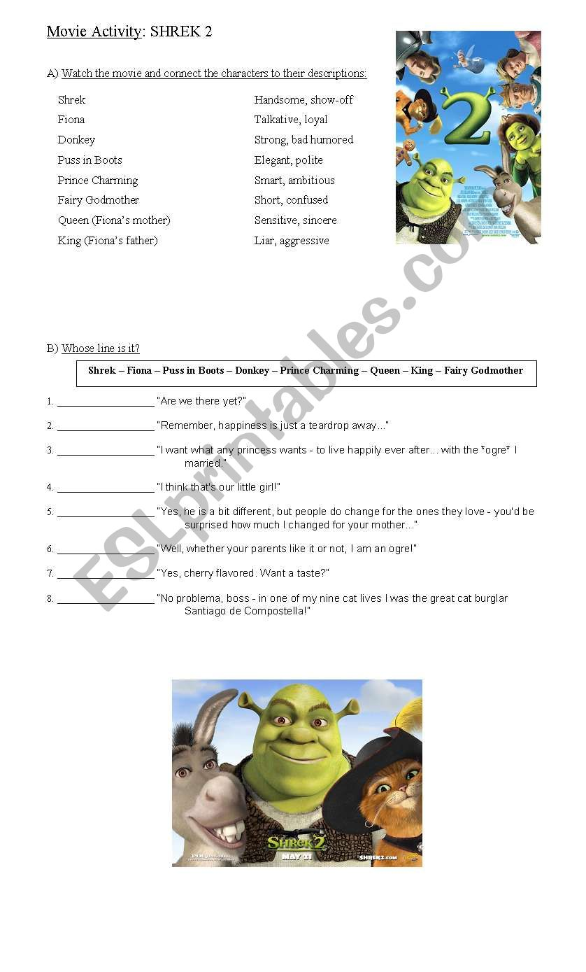 Movie Activity: Shrek 2 worksheet