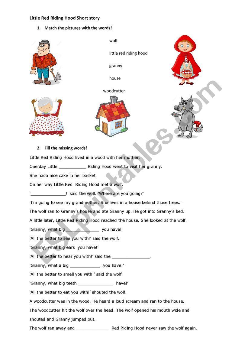 Little Red Riding Hood Esl Worksheet By Foreversmilinggirl