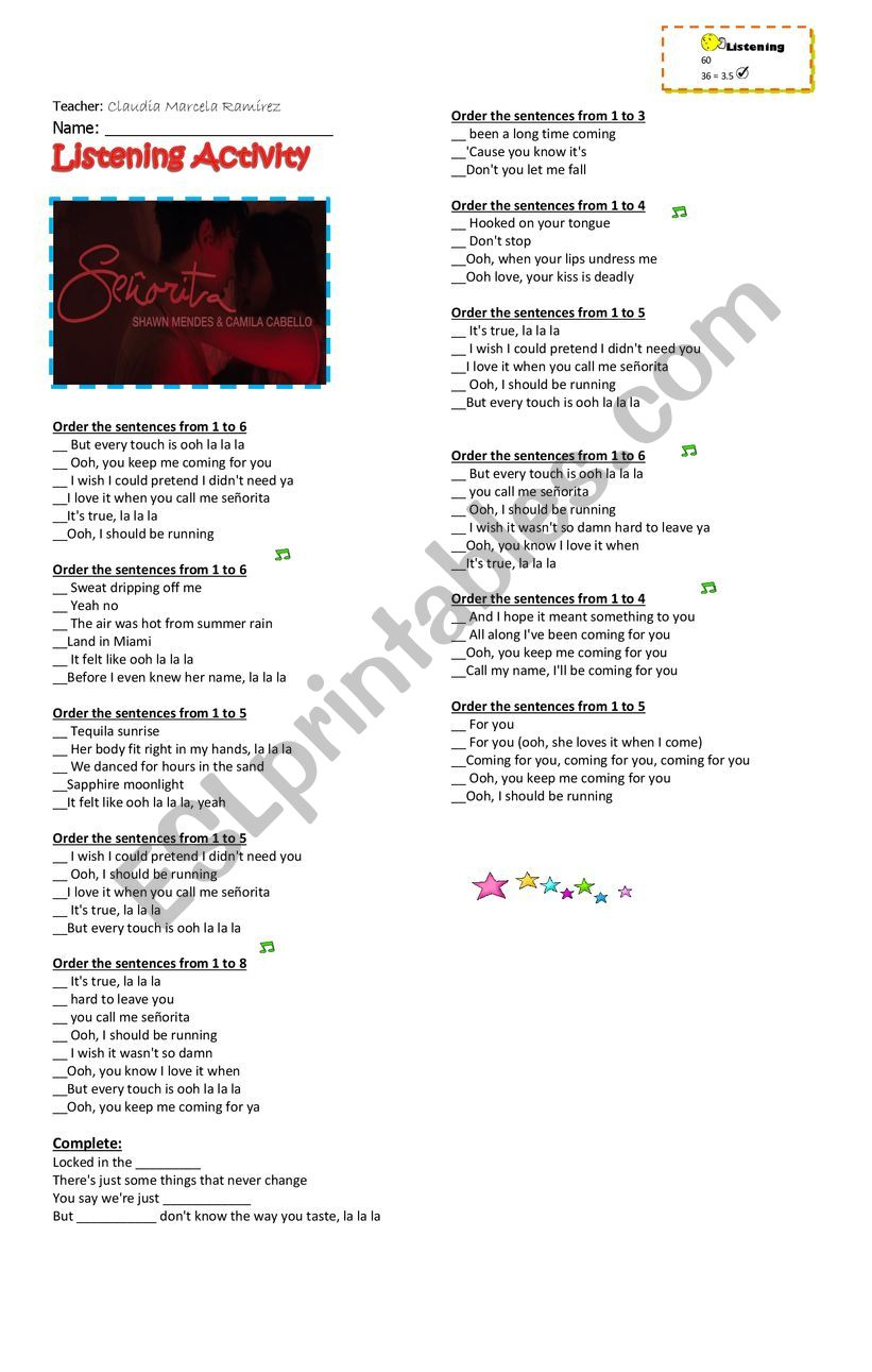 Shawn Mendes Camila Cabello - SEÑORITA - ESL worksheet by Marcelar30