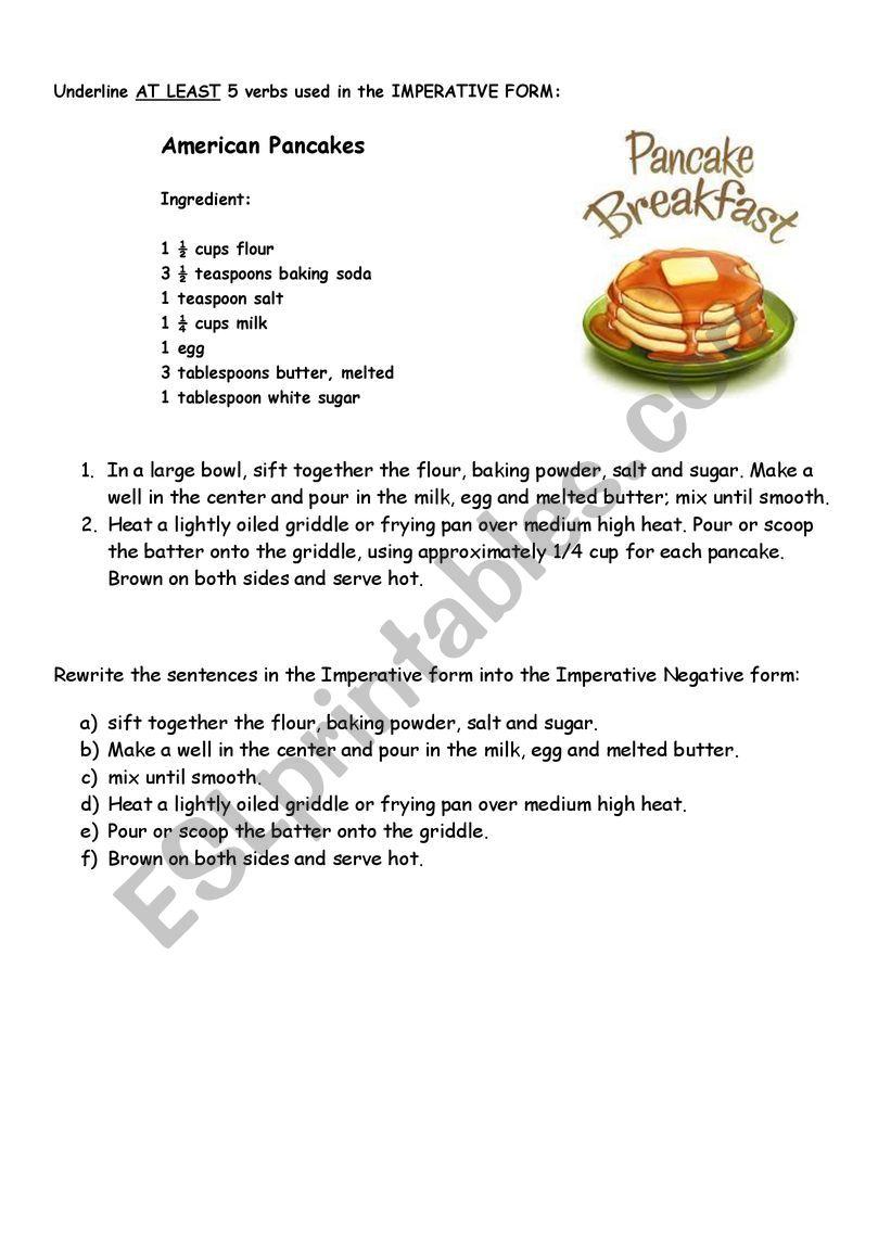 Imperative Pancake recipe worksheet
