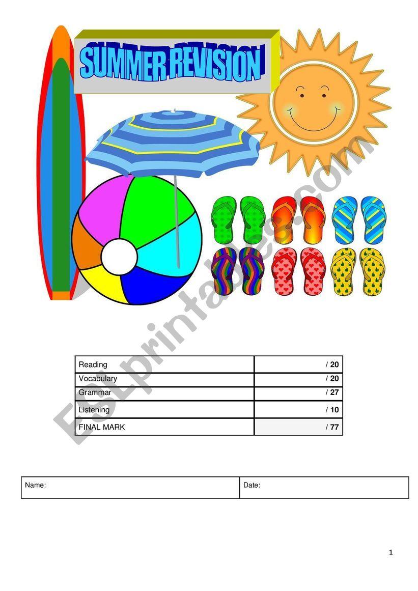 Summer Revision A1 worksheet