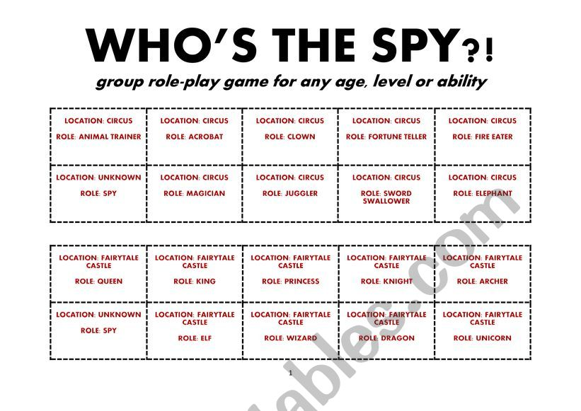 Who´s the Spy? worksheet