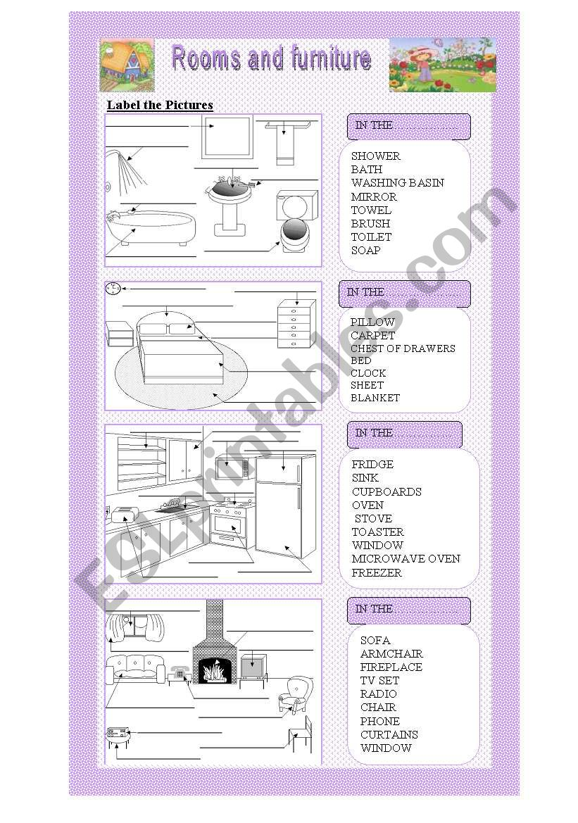 The House Rooms and Furniture worksheet