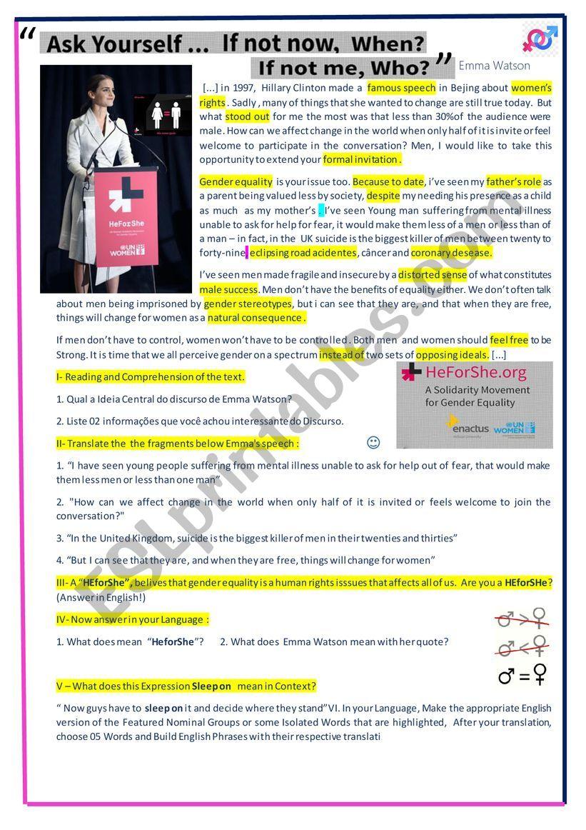 Emma Watson Speech worksheet